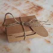 Gold-Furtune 50PCS Rectangle Gift Wrapping Paper Soap Box With Cards & Hemp Rope Cardboard Paper