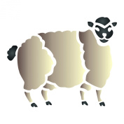 Sheep Stencil - (size 14cm w x 11cm h) Reusable Wall Stencils for Painting - Best Quality Farm Animals Stencil - Use on Walls, Floors, Fabrics, Glass, Wood, Terracotta, and More...