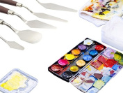 5 Pack Palette Knife Set with Sturdy Handle. A Must Have Pro Quality Palette Spatula for Oil Colour Mix Turpentine Acrylic Painting Modelling Embossing Paste Art Supplies Paper Canvas Paintings.