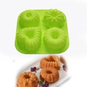 4 Cavity Mini Cake Pudding Jello Moulds Pan Cupcake Bakeware Silicone Cake Baking Moulds