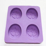 4 Cavity Tree of Life One Leaf Soap Oval Silicone Soap DIY Mould Handmade Soap Making Moulds