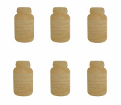 Mason Jar Shape Unfinished Wood Craft Cut Outs 6pcs MJ-06