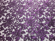 Beyonce Floral Apparel Sequence Lace Fabric - Purple - By The Yard - 140cm