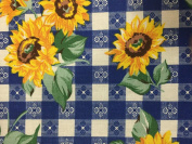 Blue Paid Sun Flower Print Poly Cotton Fabric - Sold By The Yard - 150cm