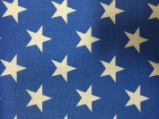 Blue White American Star Print Poly Cotton Fabric - Sold By The Yard - 150cm