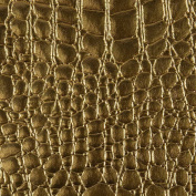 GOLD Faux Embossed Crocodile Vinyl Upholstery Fabric - Sold By The Yard - 140cm