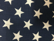 Navy White American Star Print Poly Cotton Fabric - Sold By The Yard - 150cm