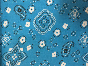 Turquoise Bandanna Print Poly Cotton Fabric - Sold By The Yard - 150cm