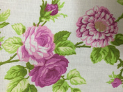 White Pink Rose Flower Print Poly Cotton Fabric - Sold By The Yard - 150cm