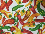 White Vegetable Pepper Print Poly Cotton Fabric - Sold By The Yard - 150cm