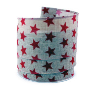 Red Stars on Linen Wired Ribbon #100cm - 6.4cm x 10 yards