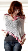 CRUISE Knit Crochet Poncho Swim Cover Pool Drape Top --ivory