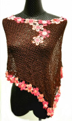 CRUISE Knit Crochet Poncho Swim Cover Pool Drape Top --brown