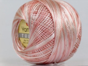 Variegated Antique Pink & White - Yarn Art Tulip Size 10 Microfiber Thread - 50 Gramme