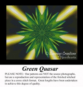 Green Quasar, Fractal Counted Cross Stitch Pattern