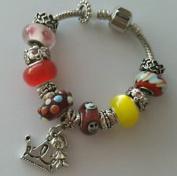 Dan Smatree The Beads European Style Little Girls Princess Murano Glass Beads Lampwork Charm Bracelet