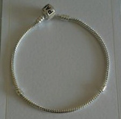 Dan Smatree The Beads 925 Sterling Silver Snake Chain European Bead Bracelet with Barell Clasp 22cm