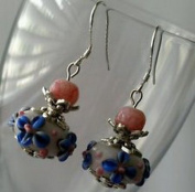 Dan Smatree The Beads 925 Sterling Silver Hook Murano Lampwork beads Pink Jade stone Earrings