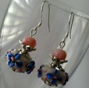 Dan Smatree The Beads 925 Sterling Silver Hook Murano Lampwork beads Pink Jade stone Earrings