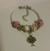 Dan Smatree The Beads Fashion Murano Glass Bead Leather White Pink Bracelet European Style Jewellery