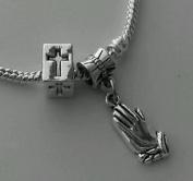 Dan Smatree The Beads Christian Religious Pray Hands Dangle Bead Cross Spacer European Charm Bracelet