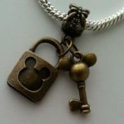 Dan Smatree The Beads Disney Mickey Mouse Key Padlock Lock Dangle Bead for European Charm Bracelets