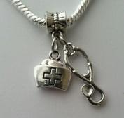 Dan Smatree The Beads Doctor Nurse Cap Stethoscope RN Gift Dangle Charm Bead European Style Bracelet