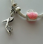 Dan Smatree The Beads 2pcs Purse Pocketbook Handbag Bead High Heel Shoe for European Charm Bracelet