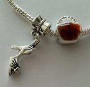 Dan Smatree The Beads 2pcs Purse Pocketbook Handbag Bead High Heel Shoe Dangle European Charm Bracelet