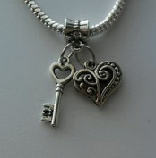 Dan Smatree The Beads Key Heart Dangle Bead For European Charm Bracelet