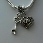 Dan Smatree The Beads Key Heart Dangle Bead For European Charm Bracelet