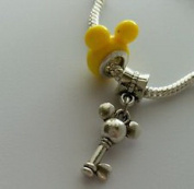 Dan Smatree The Beads 2pcs Mickey Mouse Ears Bead With Dangle Charm For Eurpean Style Bracelet Yellow