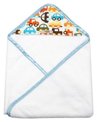 My Blankee Newborn Hooded Baby Boy Towel, White Cars