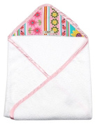 My Blankee Newborn Baby Girl Hooded, Pink Daisy Stripes