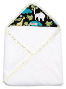 My Blankee Newborn Hooded Baby Boy Towel, Lagoon Zoology