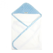 My Blankee Newborn Hooded Minky Dot Towel, Blue/White