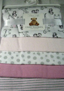 Rene Rolfe 5 Pk.Soft Flannel Baby Girls Receiving Blankets 100% Cotton Pink and White