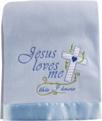 Jesus Loves Me This I Know Blue 80cm x 100cm Fleece Blanket