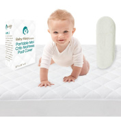 Premium Pack N Play Crib Mattress Pad Cover Fits ALL Cribs Waterproof Dryer Friendly Micro Fibre Hypoallergenic & Non-Toxic Perfect for Baby Showers Lifetime Warranty BONUS Changing Pad Liner & Ebook