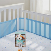 Breathable Baby Mesh Crib Liner (Blue Mist) with Breathable Baby Best Friend and Blanket