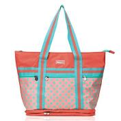 Yoovi Baby Zippered Tote Nappy Bag Tote Shoulder Bag Mummy Bag Polka Dot Pink