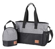 Yoovi Mummy Handbag Nappy Tote Bags Shoulder Bag Grey