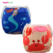 Baby Swim nappies, ANGEL LOVE Baby 2PCS Pack Cloth Swim nappy, Reusable Washable and Adjustable for Swimming, Outdoor Activities and Daily Use, Fit Babies 0-2 Years, All in One Size