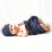 Space PH Newborn photography props crochet shoot clothes 2 colours beanie with button +blanket handmade knit 0-3month baby photo clothes
