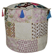Handcrafted Decorative Patchwork Embroidery Design Round Ottoman Cover 18 X 46cm X 36cm