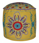 Handcrafted Suzani Embroidered Floor Cushion Ottoman Cover 18 X 46cm X 36cm