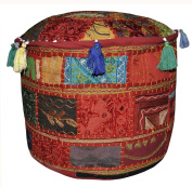 Jaipuri Patchwork Design Handmade Embroidery Cotton Round Ottoman Cover 17 X 43cm X 30cm