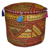 Patchwork Embroidery Cotton Round Ottoman Cover 17 X 43cm X 30cm