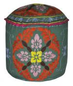 Rajasthani Handmade Suzani Embroidery Design Cotton Ottoman Cover 18 X 46cm X 36cm