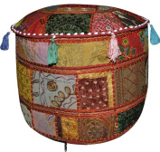 Rajasthani Vintage Patchwok Embroidered Cotton Ottoman Cover 17 X 43cm X 30cm